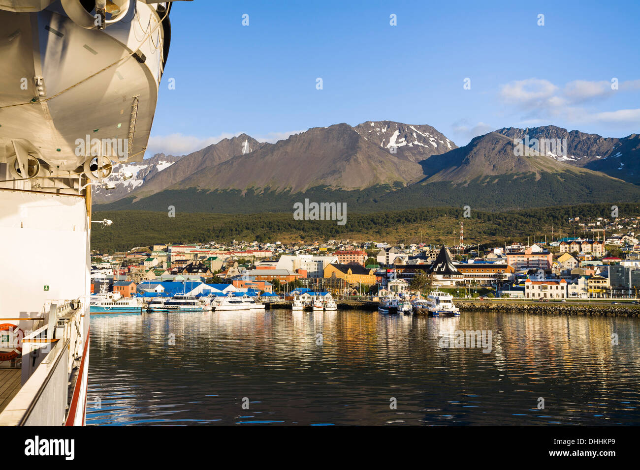 Ushuaia harbour, southernmost citiy of Argentina, Beagle-Channel, Tierra del Fuego, Argentina, South America - Stock Image