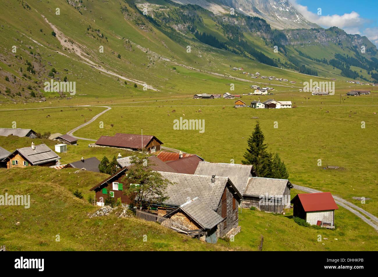 Urnerboden hamlet, Urnerboden, Canton of Uri, Switzerland - Stock Image