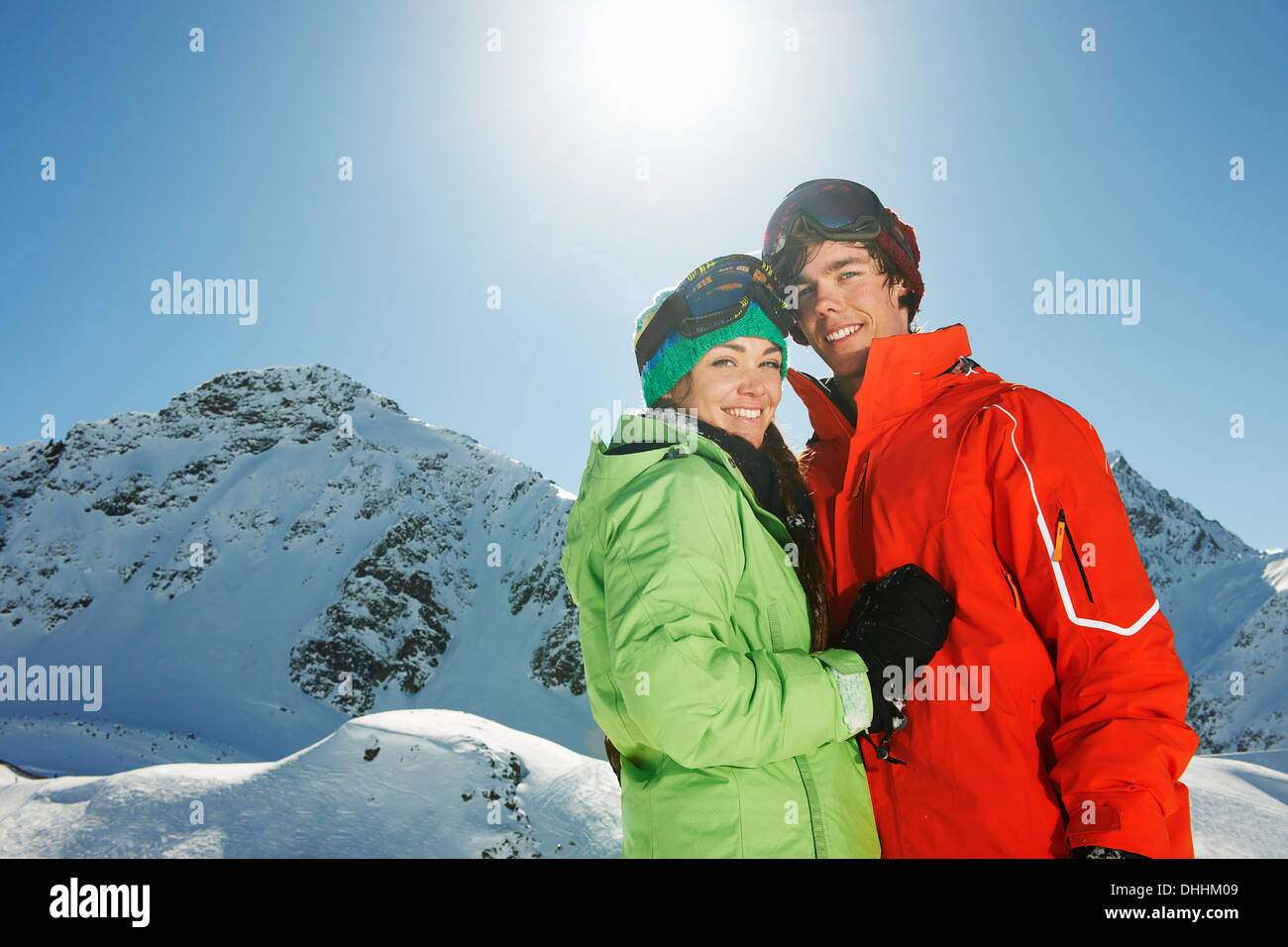Couple wearing skiwear, Kuhtai, Austria - Stock Image