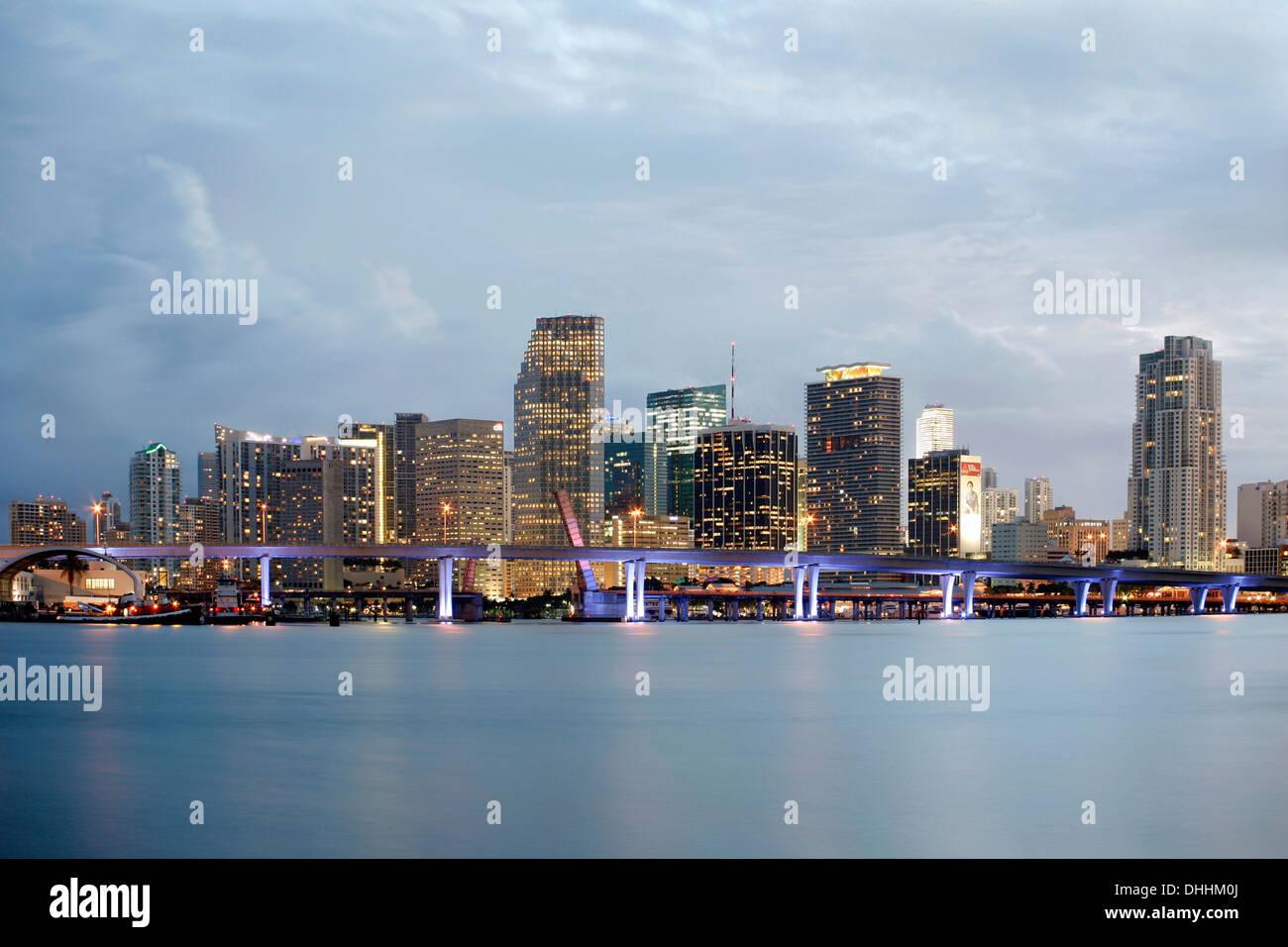 Skyline, Downtown, Miami, Miami-Dade County, Florida, United States - Stock Image