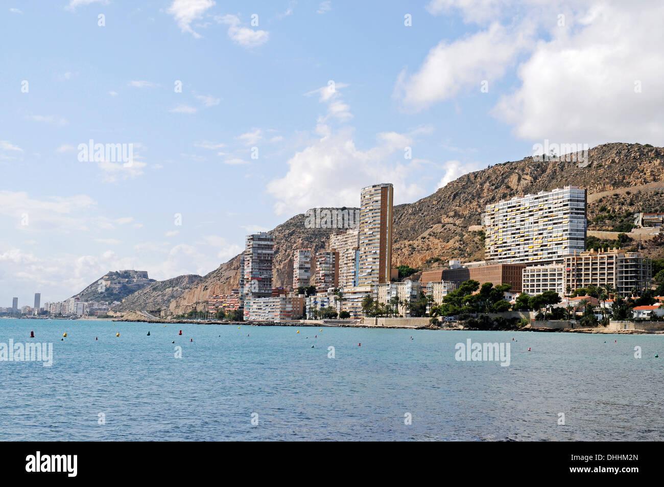 High-rise buildings, coastal development, city of Alicante at back, La Albufereta, Alicante, Province of Alicante, Spain - Stock Image