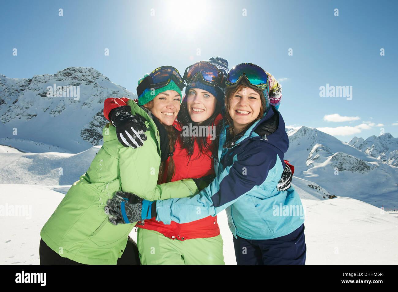 Female friends wearing skiwear, Kuhtai, Austria - Stock Image