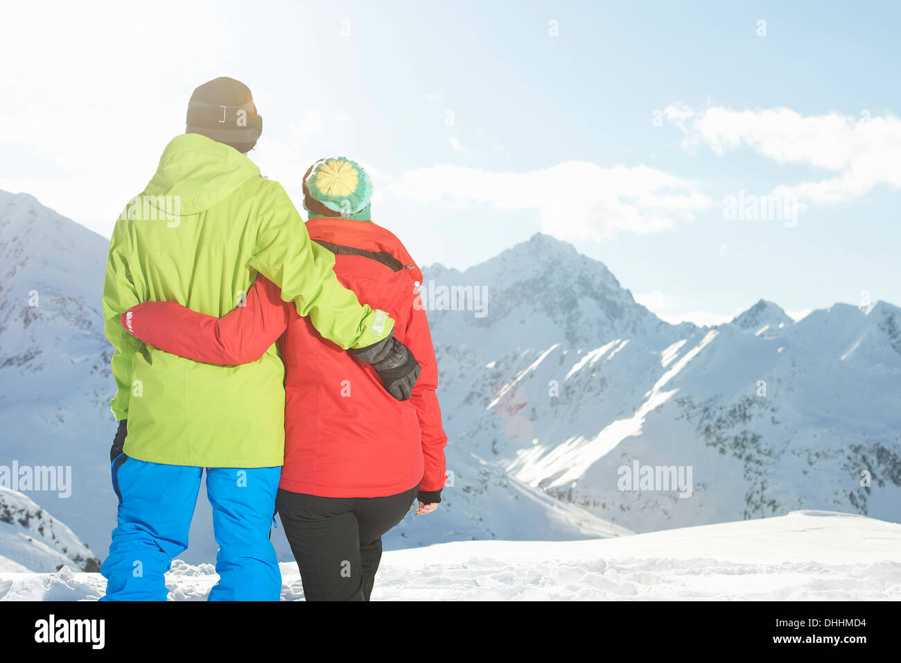 Couple looking at mountains, Kuhtai, Austria - Stock Image