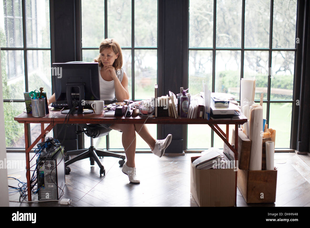 Mature woman at home working on personal computer - Stock Image