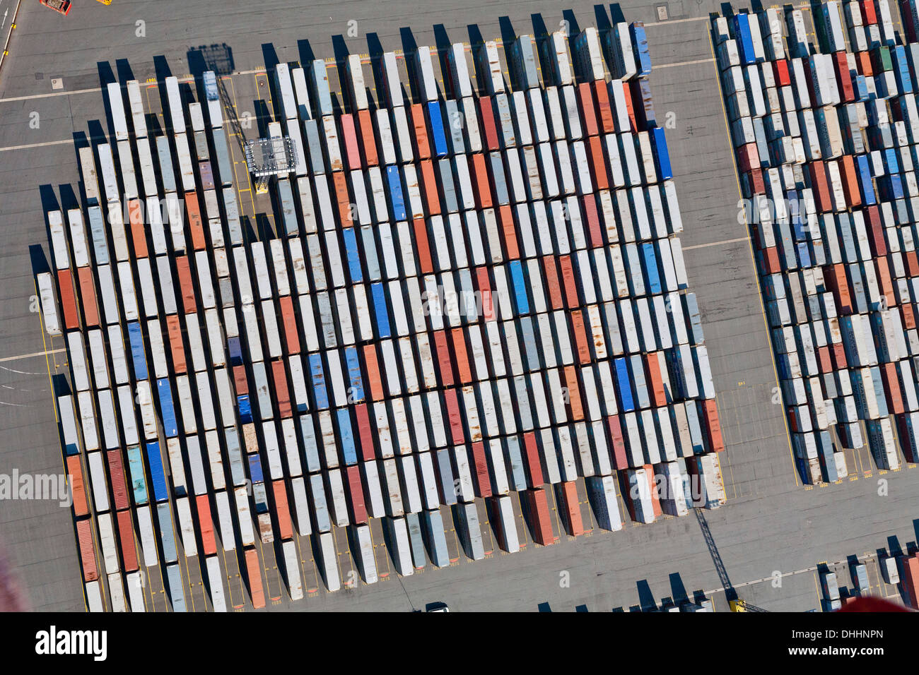 Aerial view of shipping containers in Bremerhaven port, Bremen, Northern Germany Stock Photo