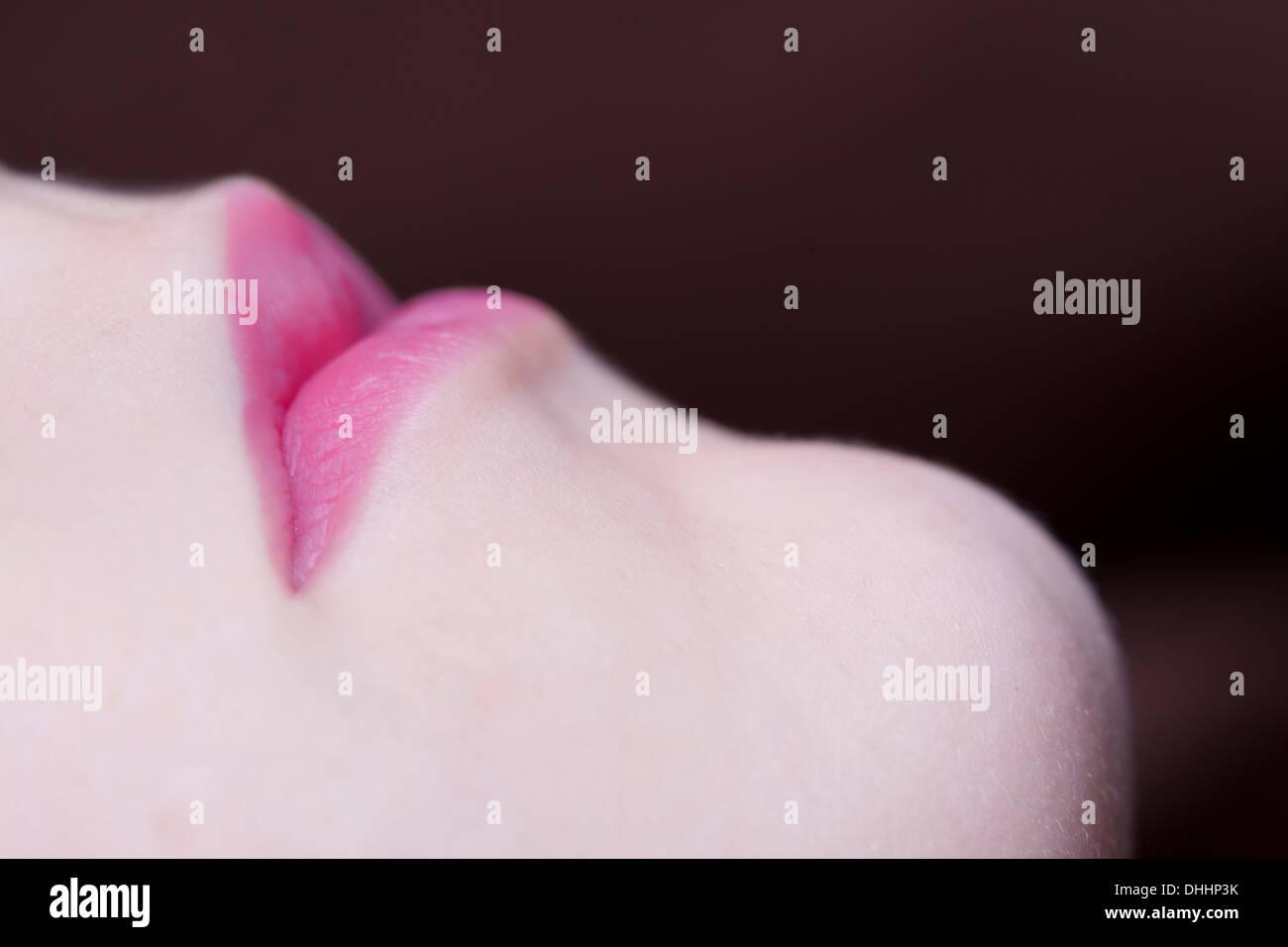 Pink Heart Lips - Stock Image