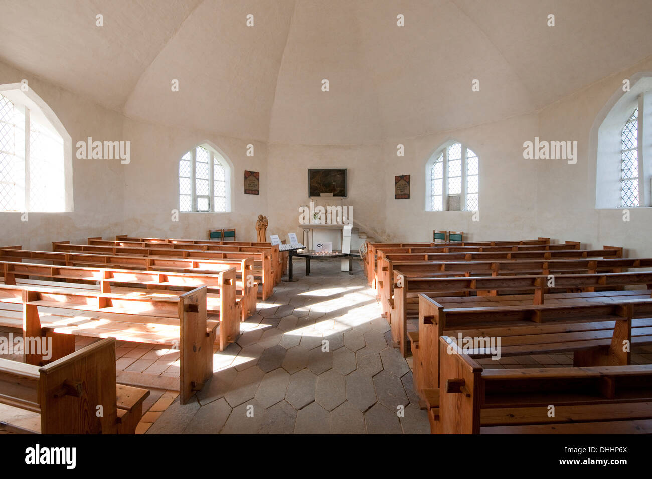 Interior, Vitt chapel, Vitt, Rügen, Mecklenburg-Western Pomerania, Germany - Stock Image