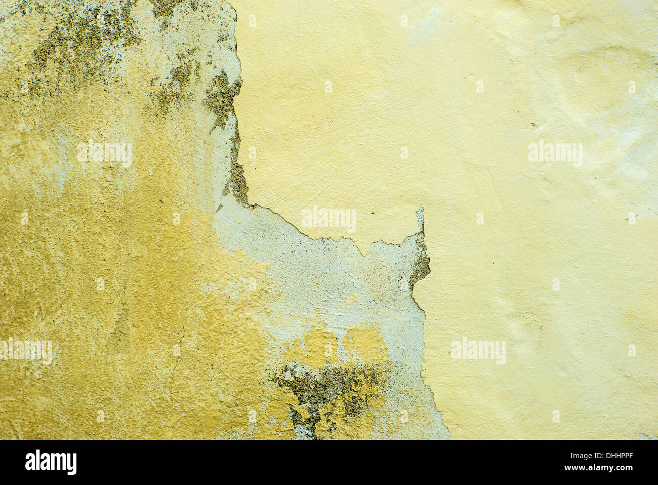 Wall of concrete with spoiled coating - Stock Image