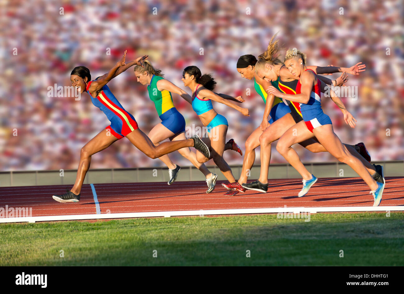 Runners at finish line - Stock Image