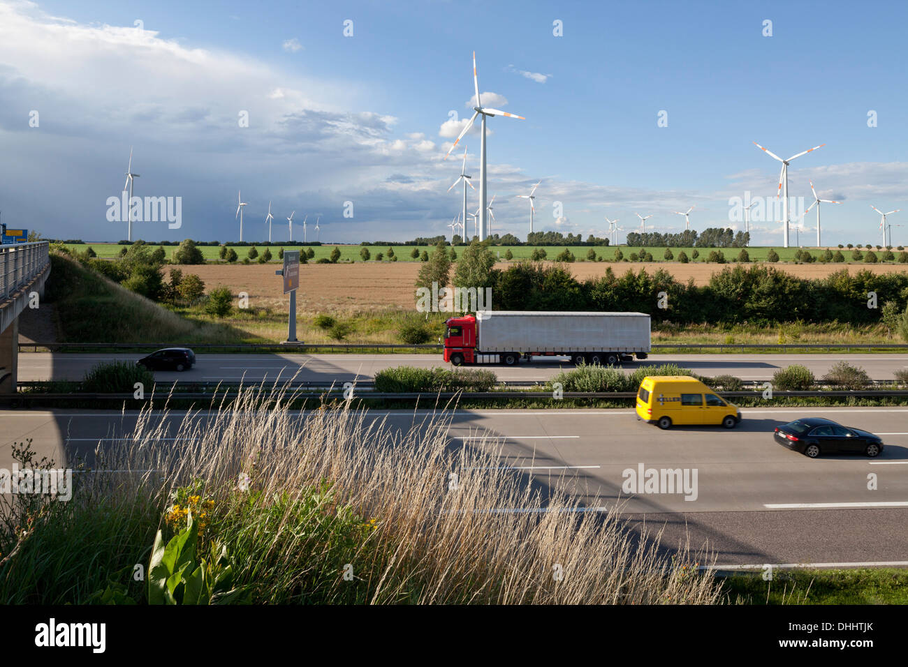 Wind turbines along the A2 Autobahn direction Berlin, Sachsen-Anhalt, Germany Stock Photo