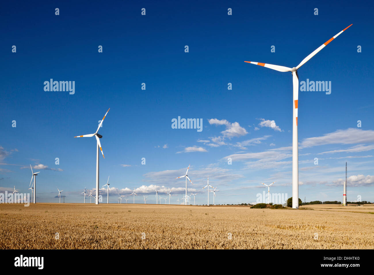 Wind turbines along the A2 Autobahn direction Berlin, Sachsen-Anhalt, Germany Stock Photo