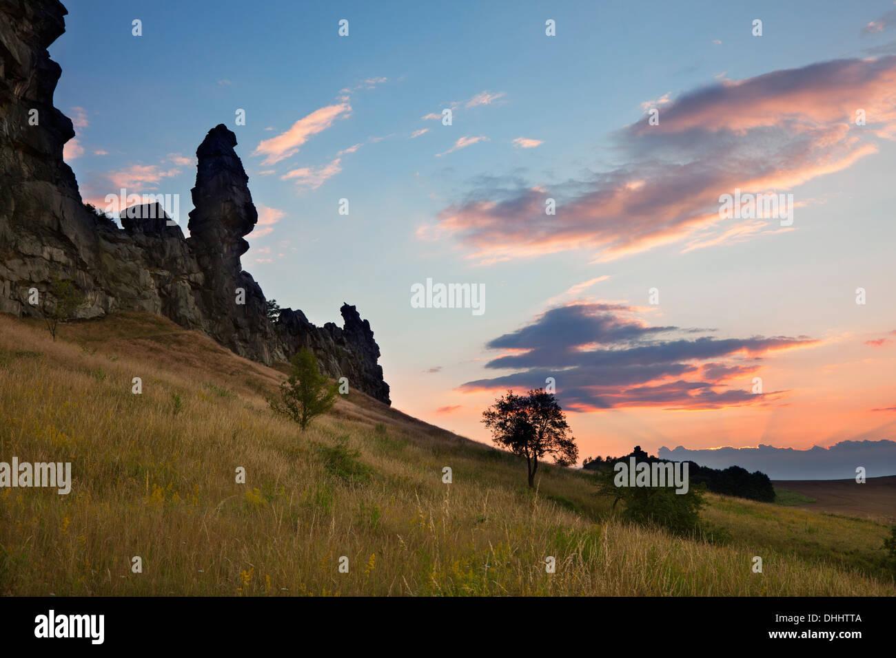 Teufelsmauer at dusk, Harz mountains, Saxony-Anhalt, Germany, Europe - Stock Image
