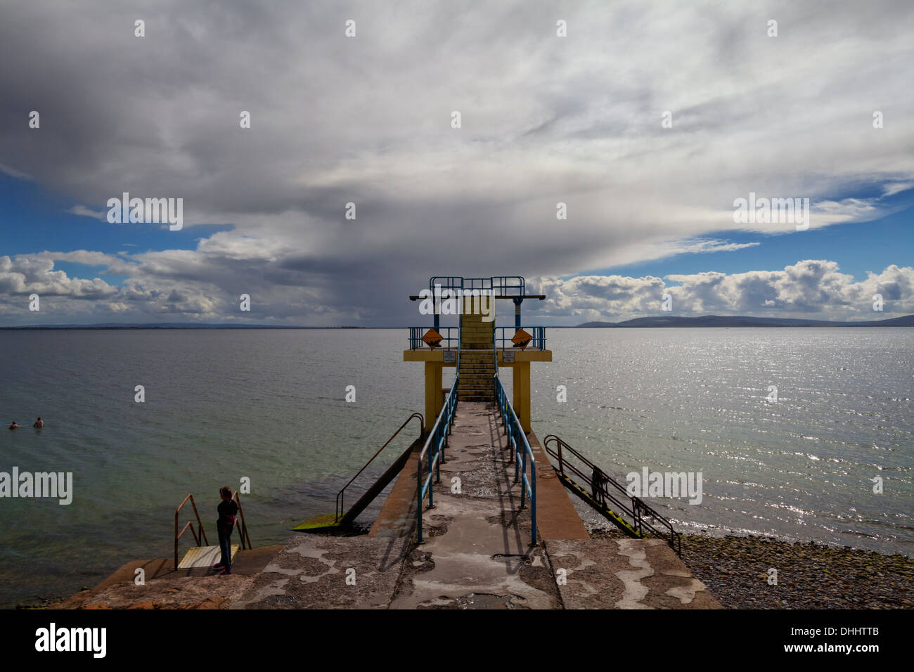 Overlooking Galway Bay, The Blackrock Diving and Viewing Tower at Salthill, Near Galway City, Ireland - Stock Image