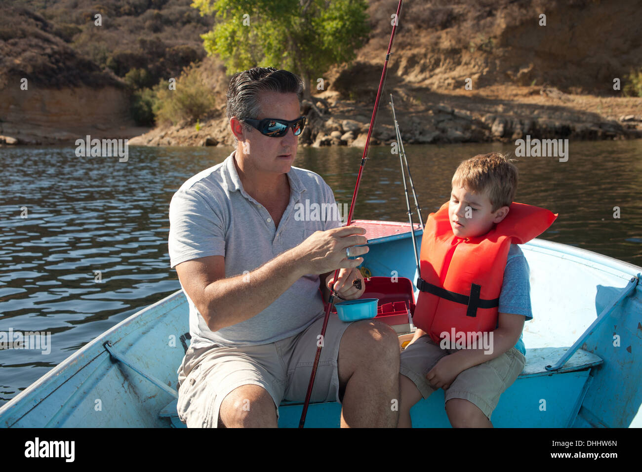 Father and son on fishing trip - Stock Image