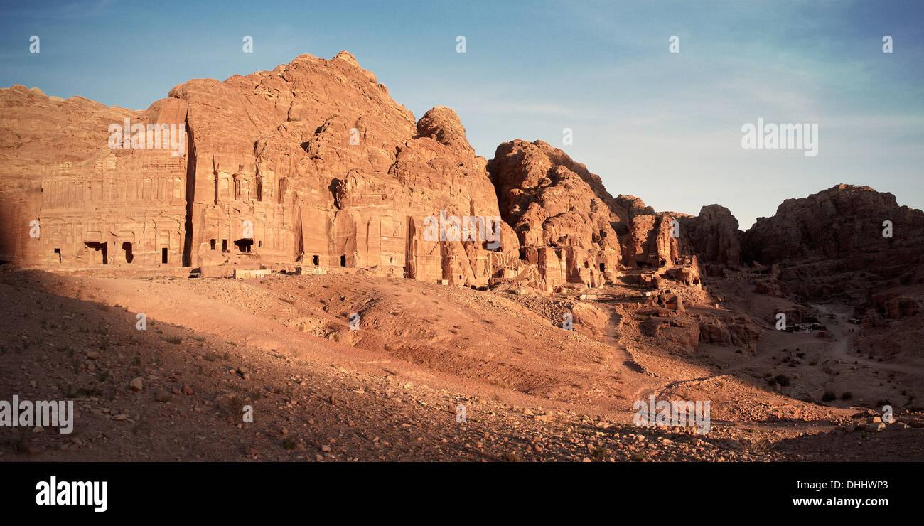 Royal tombs at sunset, Petra, UNESCO world herritage, Wadi Musa, Jordan, Middle East, Asia - Stock Image
