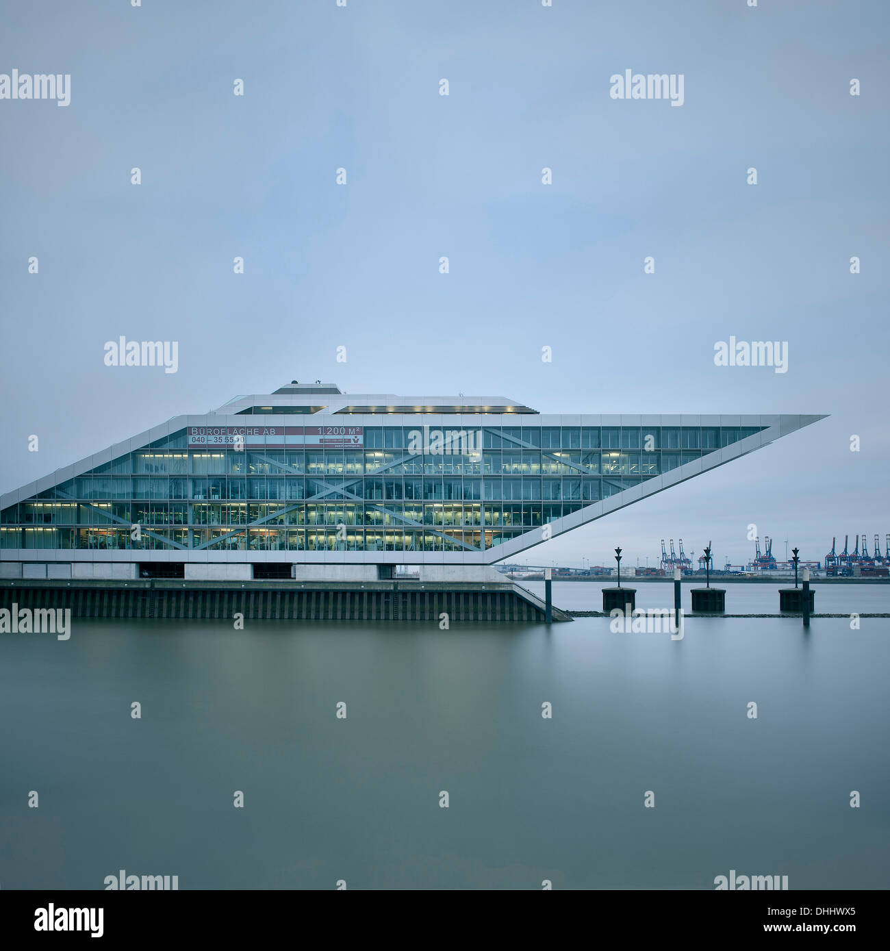 Office building at Docklands at Hamburg dockside, around Hamburg harbour, Elbe, Germany, Europe - Stock Image