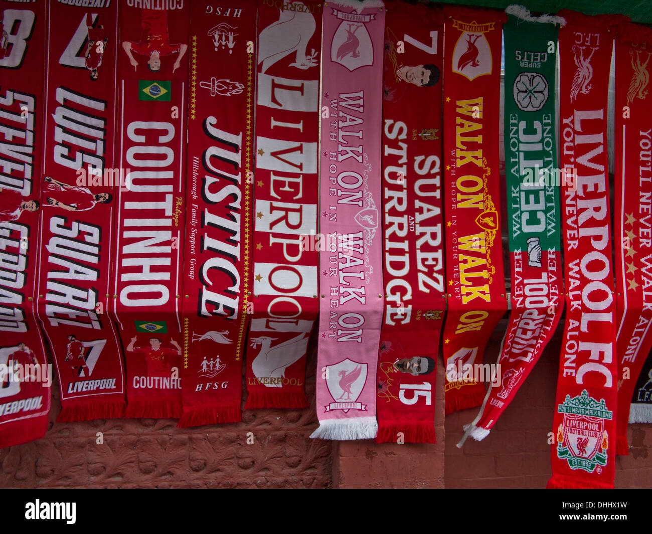 Liverpool Fc Scarves And Merchandise For Sale Outside
