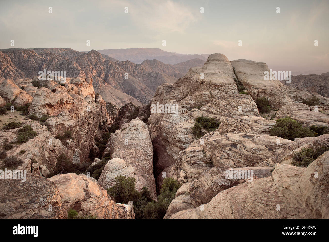 Rock formations at Dana nature reserve, UNESCO world herritage, Dana, Jordan, Middle East, Asia - Stock Image