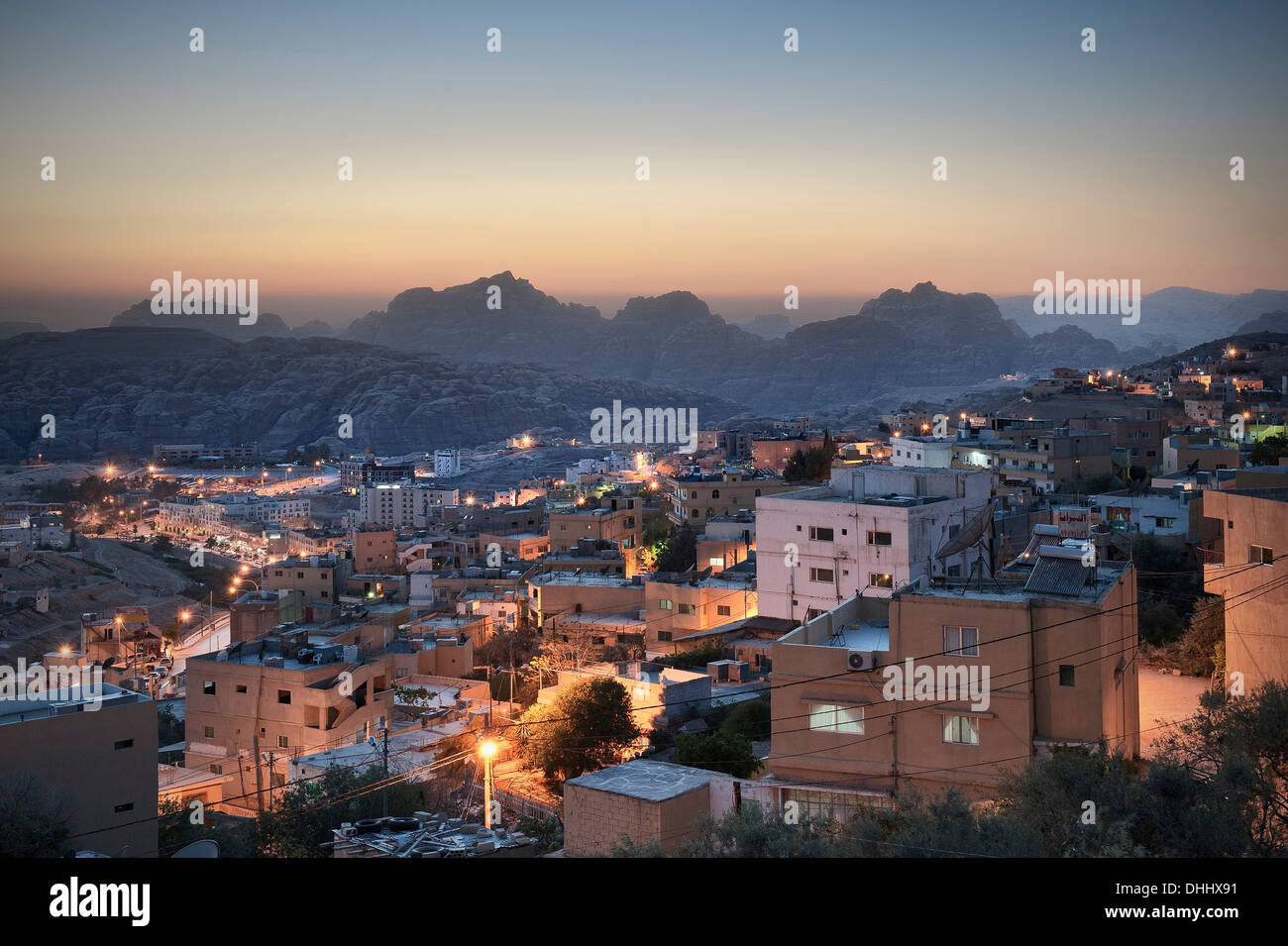 View of Wadi Musa in the evening, Petra, Jordan, Middle East, Asia - Stock Image