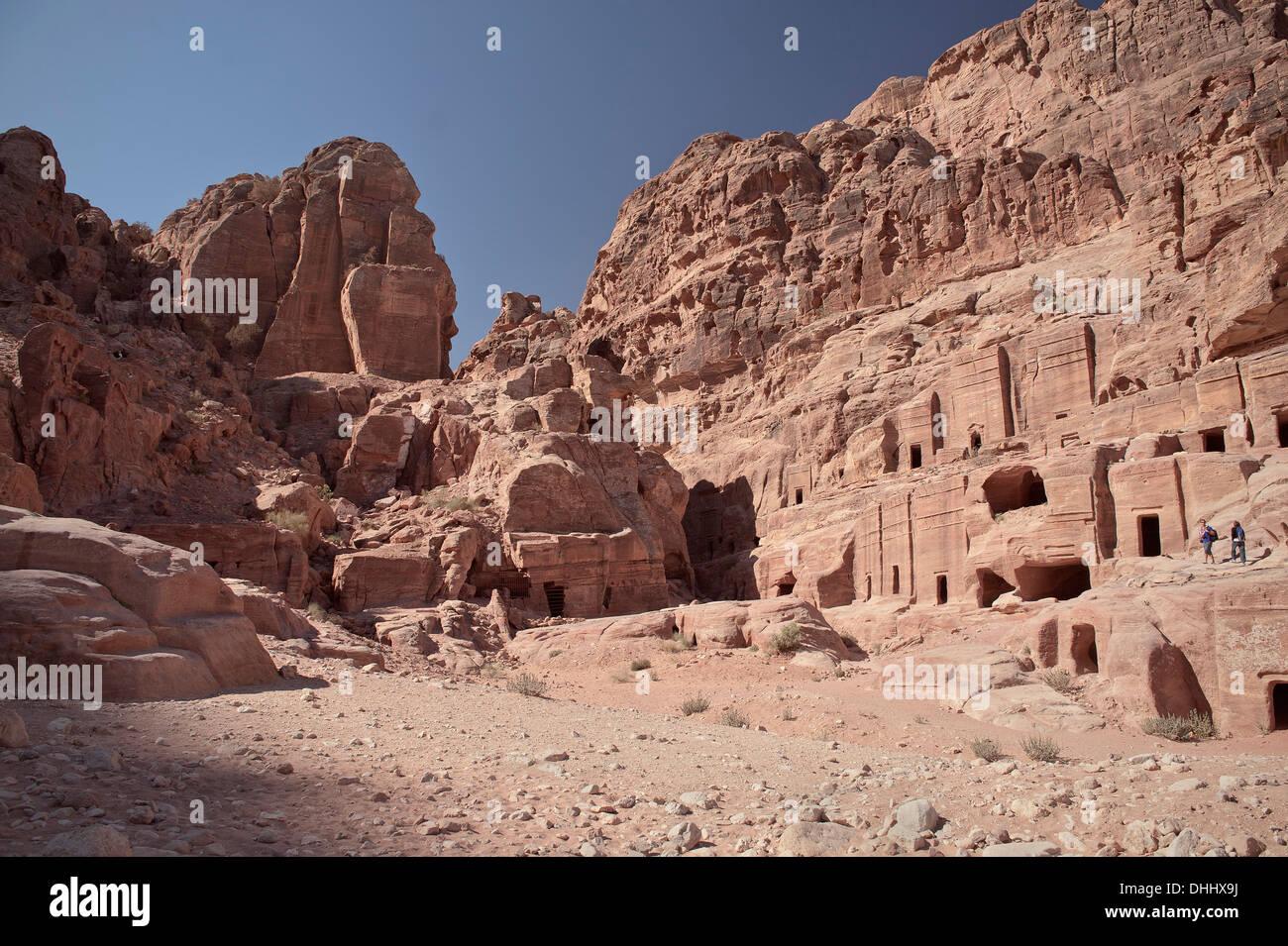 Cave tombs at Petra, UNESCO world herritage, Wadi Musa, Jordan, Middle East, Asia - Stock Image