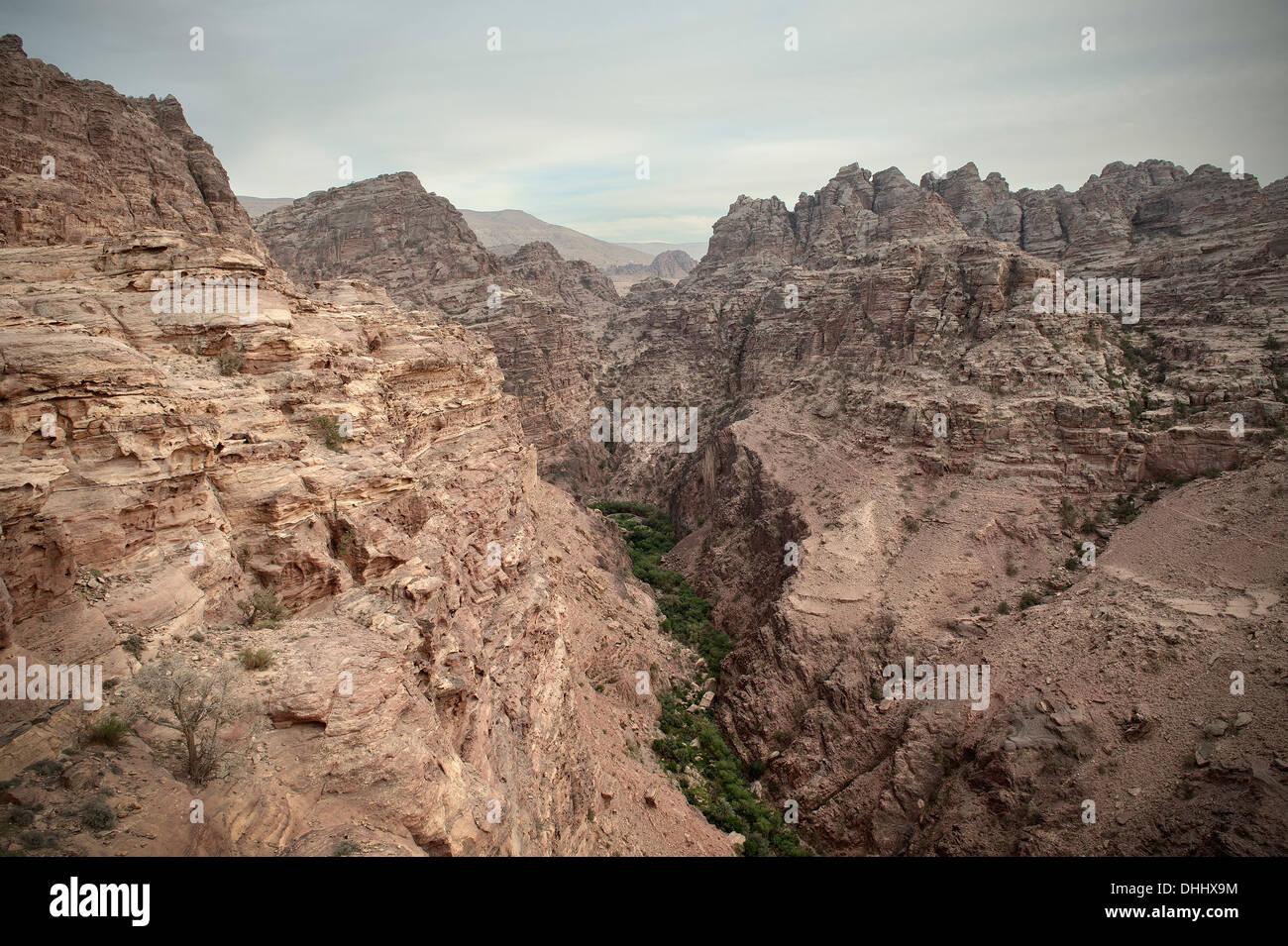 Mountain landscape at Petra, UNESCO world herritage, Wadi Musa, Jordan, Middle East, Asia - Stock Image