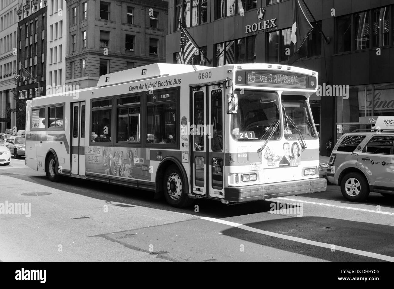 Clean Air Hybrid Electric Bus, Manhattan, New York City, United States of America. - Stock Image