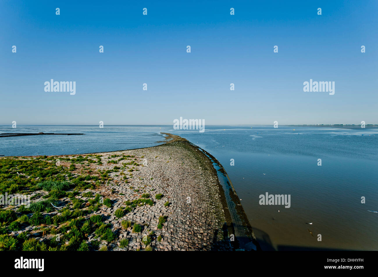 At the Eider Barrage, Nordsee, Schleswig-Holstein, Germany - Stock Image