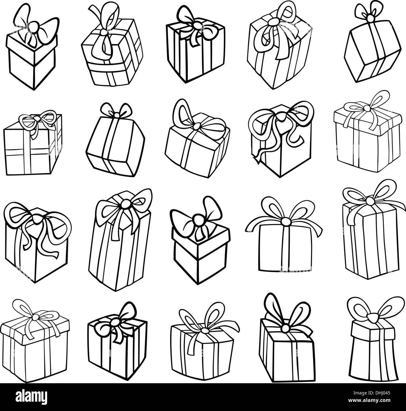 Black and White Cartoon Illustration of Christmas or Birthday Stock ...