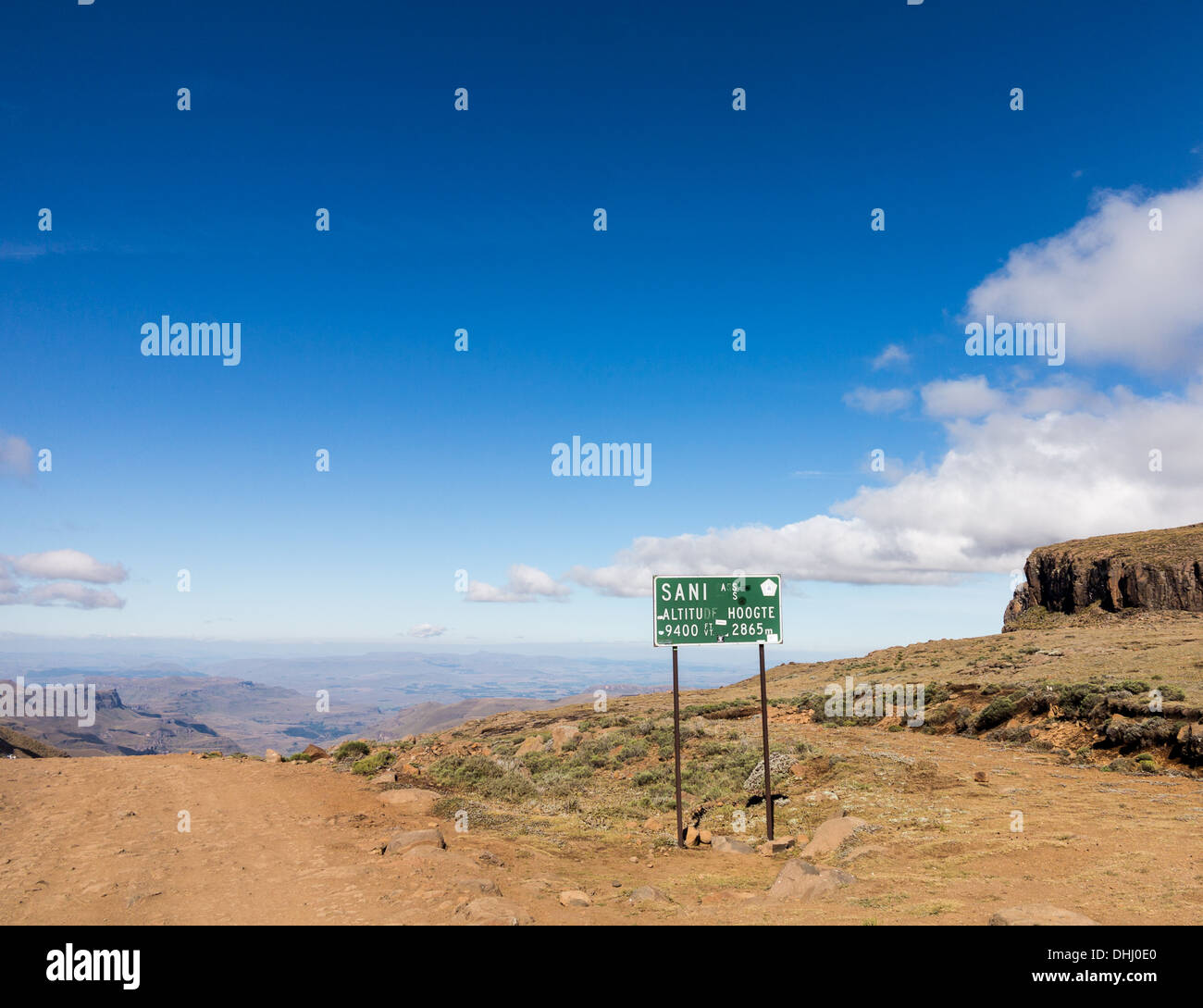 Sani Pass sign post at summit of the pass from South Africa to Lesotho in KwaZulu-Natal Stock Photo