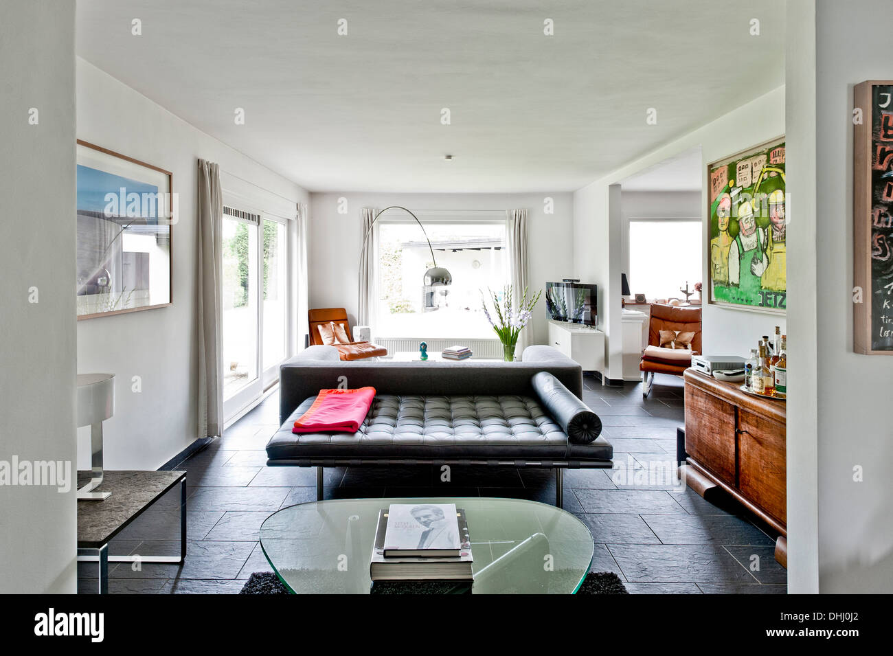 Living room, Bauhaus residential house, Hamburg, Germany Stock Photo ...