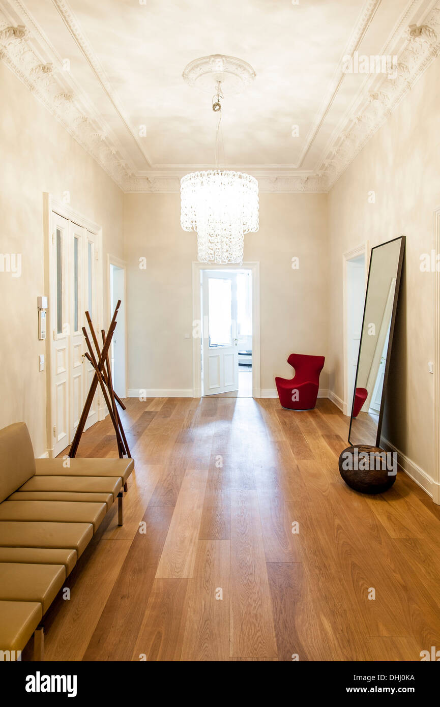 Floor with oak floorboards in an old building flat, Hamburg, Germany Stock Photo
