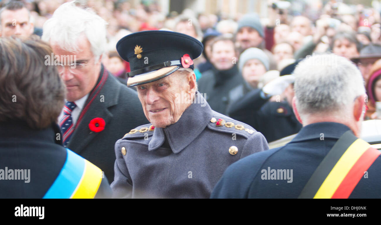 Ypres, Belgium - 11th November 2013 - HRH Duke of Edinburgh at Ypres Menin Gate Ceremony 'The Gathering of the Soil' for Flanders Fields Memorial Garden - Caroline Vancoillie /Alamy Live News - Stock Image