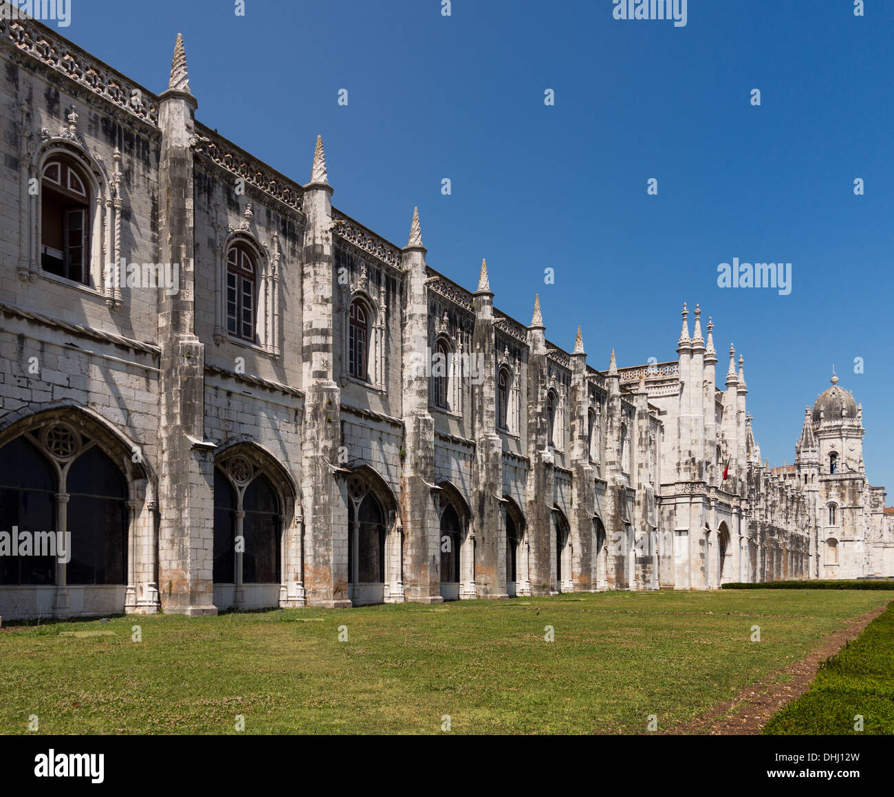 Detail of ornate gothic carvings and architecture around entrance to Jeronimos Monastery in Belem near Lisbon Portugal - Stock Image