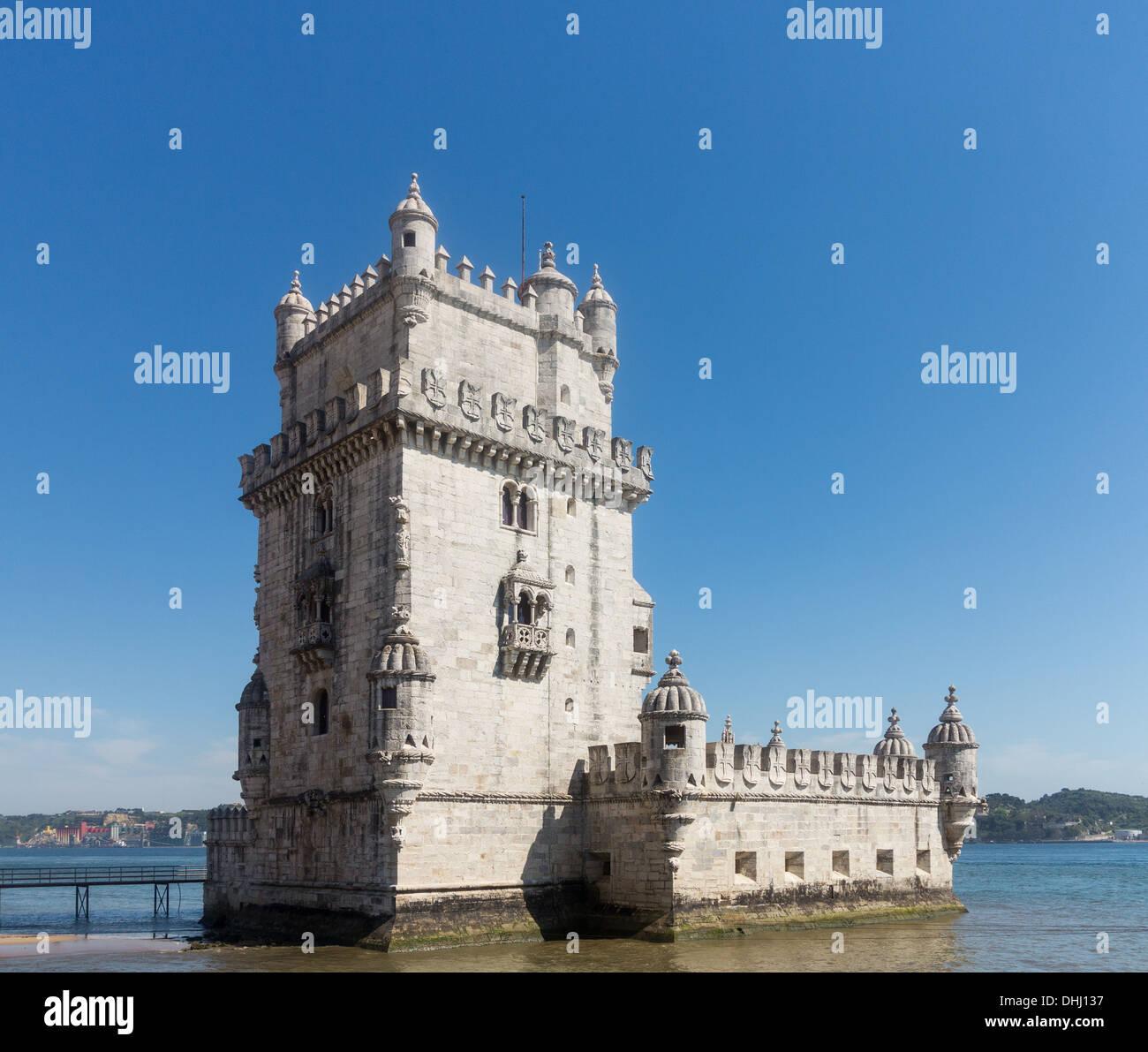 Belem Tower or Tower of St Vincent in Belem near Lisbon, Portugal. - Stock Image