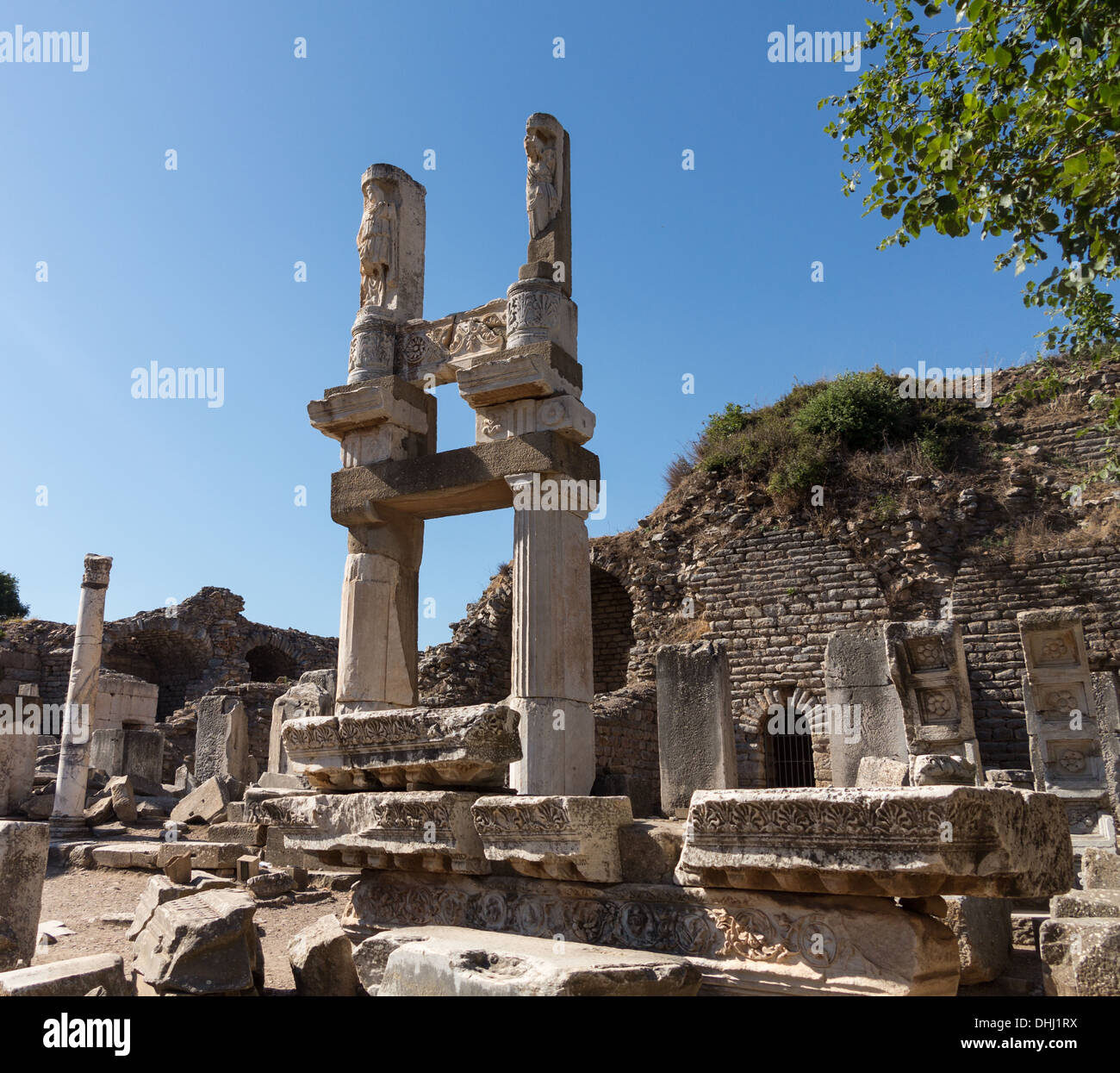 Ruins of the buildings / temples in old city of Ephesus which was a famous Ancient Greek city now in Turkey - Stock Image