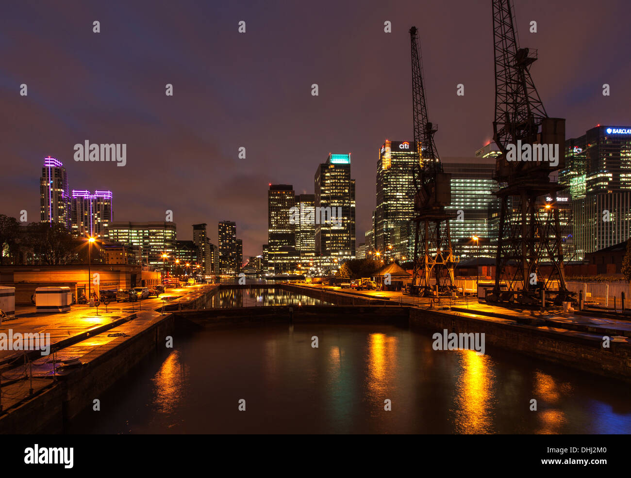 The Buildings of Canary Wharf at Night - Stock Image