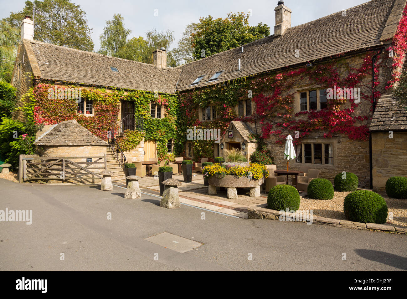 The Slaughters Country Inn, Lower Slaughter, Cotswolds, Gloucestershire, England, UK - Stock Image