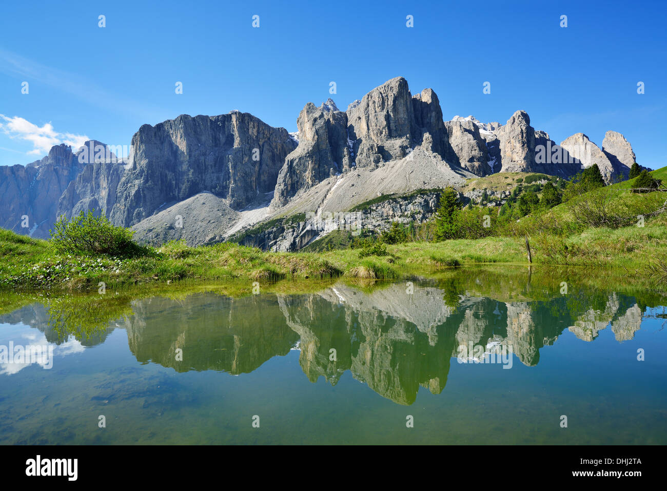 Sella range reflecting in a mountain lake, Sella, Dolomites, UNESCO world heritage site Dolomites, South Tyrol, Stock Photo