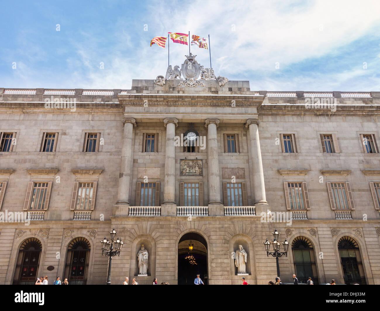 Exterior of the Town Hall or Casa de la Ciutat in Barcelona, Spain - Stock Image