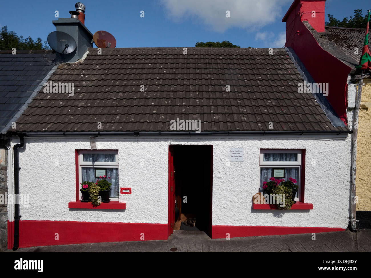 The 'Dying Man House' from 'The Quiet Man' film, Cong, County Mayo, Ireland - Stock Image