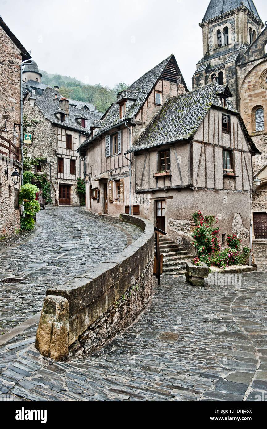 Abbey church Sainte-Foy, Conques, Aveyron, Midi-Pyrenees, France - Stock Image