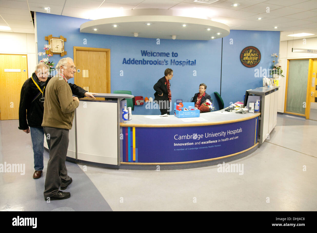 Addenbrookes NHS Hospital welcome information desk at the entrance, Cambridge UK Stock Photo