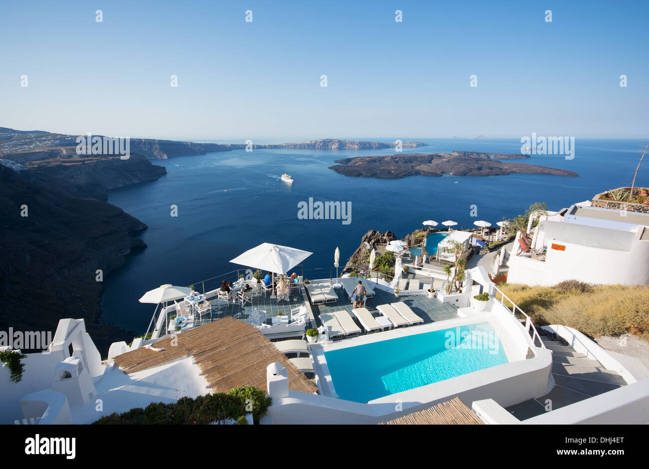 SANTORINI (THIRA), CYCLADES, GREECE. A view from the village of Imerovighli. 2013. - Stock Image