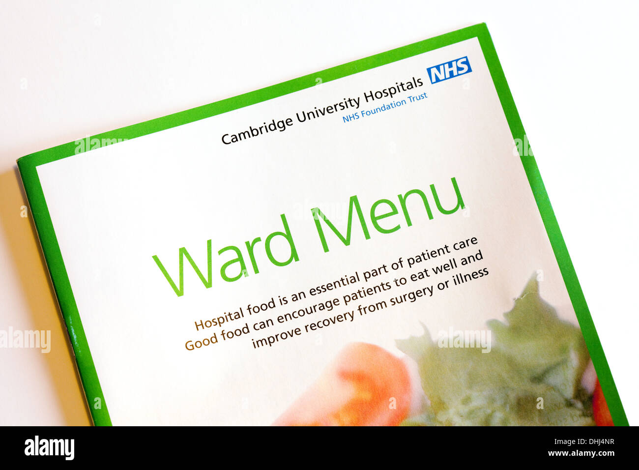 NHS hospital food menu, Addenbrookes Hospital, Cambridge UK - Stock Image