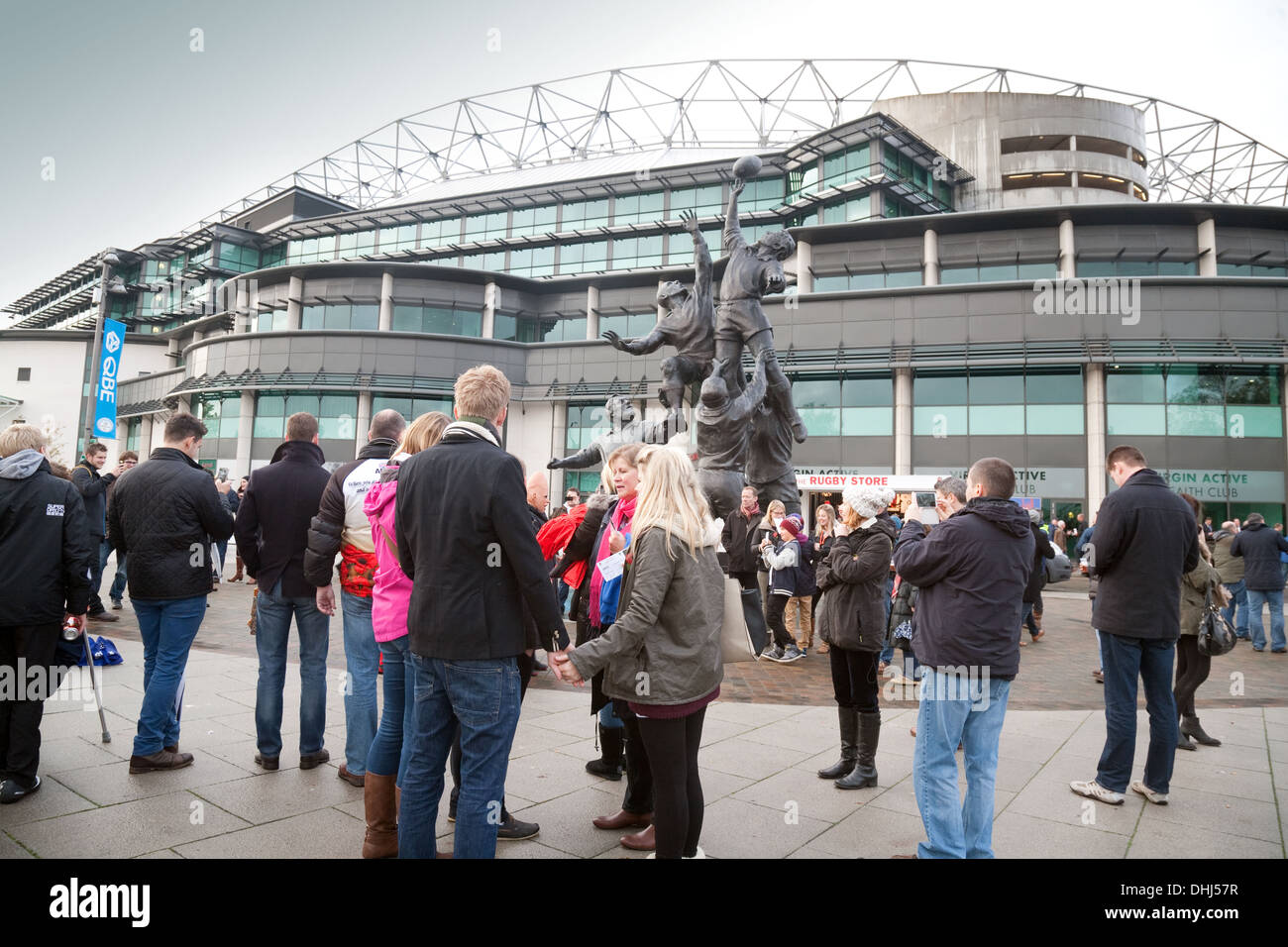 Twickenham stadium, fans going to watch the rugby match between England and Argentina, Twickenham, London UK Stock Photo
