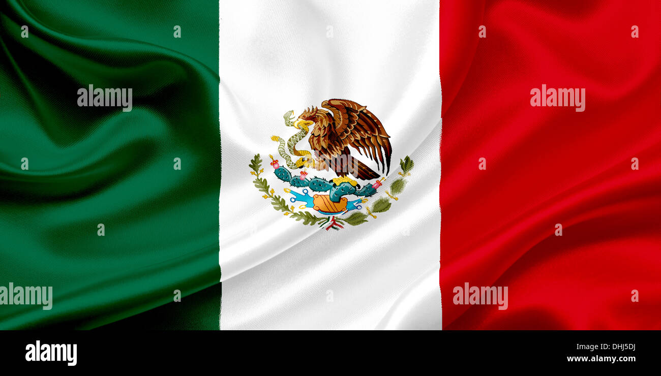 Flag of Mexico waving in the wind - Stock Image