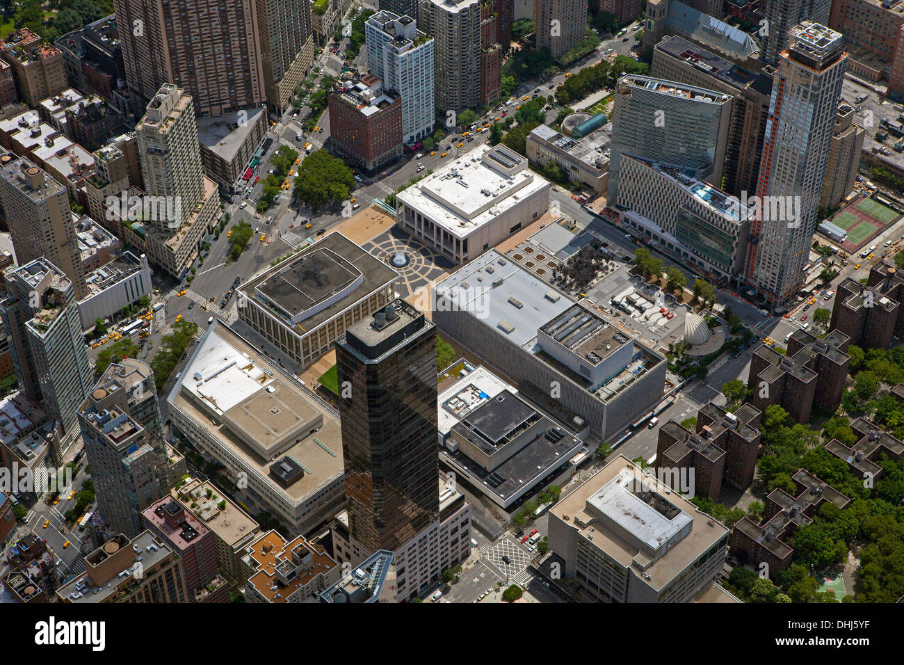 aerial photograph Lincoln Center, Avery Fisher Hall, Broadway, Manhattan, New York City - Stock Image