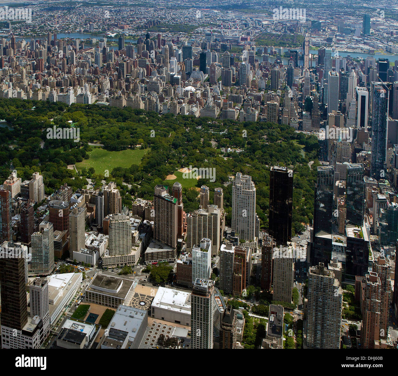 aerial photograph Lincoln Center, Avery Fisher Hall, Central Park, Manhattan, New York City - Stock Image