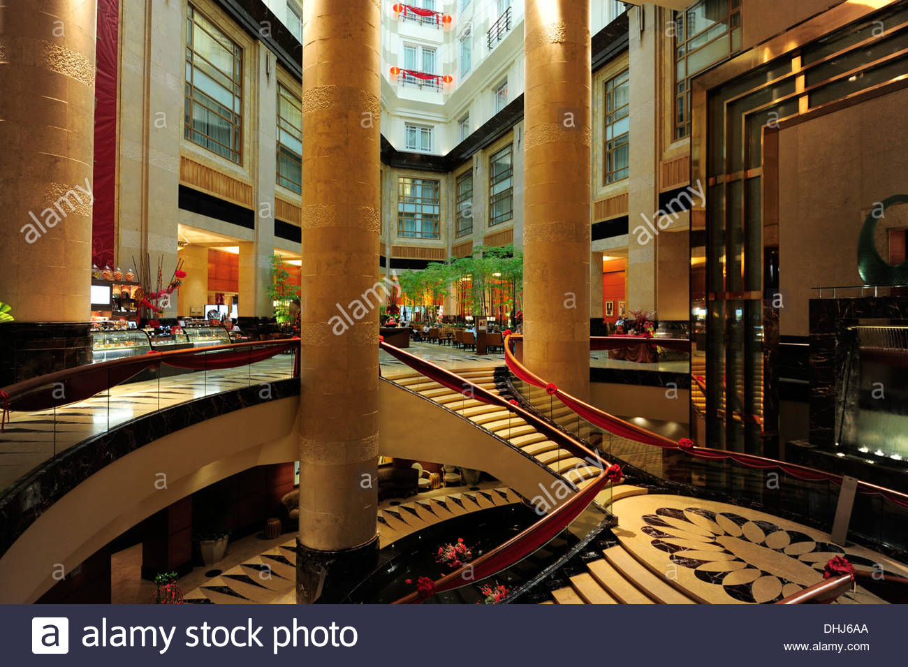 Staircase in The Fullerton Hotel, Singapore, Asia - Stock Image