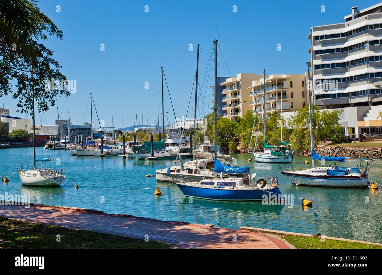Australia, Queensland, Townsville, yachts moored in Ross Creek - Stock Image